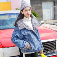 羊羔毛牛仔外套女2018新款冬季bf女装韩版学生宽松保暖棉衣潮 蓝色