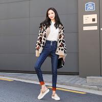 加绒牛仔裤女高腰排扣2018新款冬季加厚显瘦小脚铅笔裤子韩版长裤