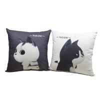 抱枕十字绣刺绣自己绣 情侣抱枕一对简单绣卡通卧室枕头现代客厅沙发靠垫n 黑猫+白猫 枕套1对【棉线】
