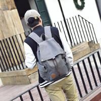 男士双肩背包休闲包双肩旅行包复古帆布包学生包书包电脑包