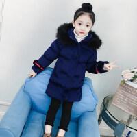 女童棉衣2018新款冬装加厚外套中大童棉袄洋气儿童中长款丝绒棉服