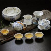 青花瓷玲珑茶具套装家用蜂窝镂空整套陶瓷功夫茶具泡茶壶茶杯盖碗