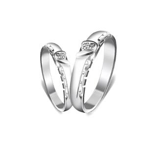 梦克拉 PT950铂金钻石对戒 为爱倾心 男女情侣对戒 可礼品卡购买