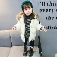 女童冬装棉衣新款韩版1-3岁女宝宝洋气时髦4儿童装加厚潮 白色 90cm