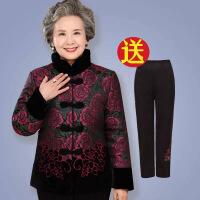 老太太冬装棉衣奶奶棉袄上衣妈妈装加绒加厚棉衣套装老人衣服女 4号玫红牡丹花+加绒裤子(套装) 2XL建议体重110斤-
