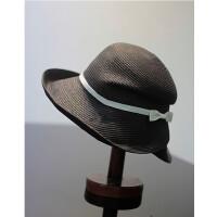 折叠草帽遮阳帽子女夏天沙滩帽马尾可戴凉帽防紫外线防晒