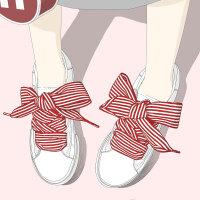 艾米与麦麦2019新款蝴蝶结小白鞋女春季学生百搭细条纹缎带鞋子韩版潮流系带休闲板鞋学院风低帮软妹女鞋