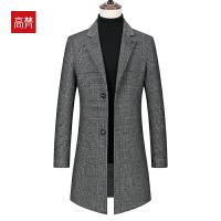 【1件3折到手价:441元】高梵2019秋冬新款羊毛外套千鸟格翻领中长款双面呢大衣男7152F