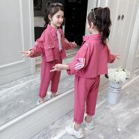 2019春秋季新款洋气童装牛仔外套儿童两件套女童工装套装
