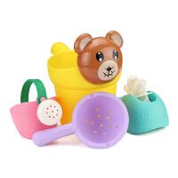 �和�洗澡玩具�蛩��男孩女孩小�S��洗�^杯�������⑺��靥籽b沙�� �S小熊4件套 送袋子
