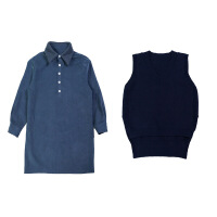 早秋季女套装秋冬新款女小香风衬衣配马甲毛衣背心裙子两件套 深蓝毛衣马甲+蓝色