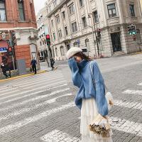 的高领毛衣女套头秋冬2018新款韩版宽松网果色针织衫 均码