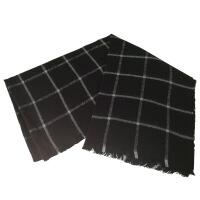 夏季秋冬季学生英伦黑白格子围巾双面两用百搭毛线围脖披肩男女款 黑白格子