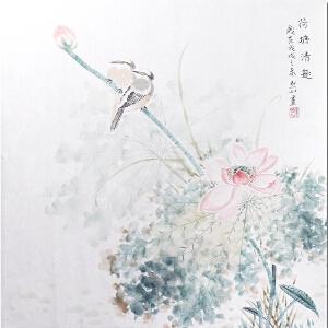 当代著名小写意花鸟画家金默如先生作品――荷塘清趣