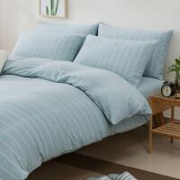 天竺棉四件套针织全纯棉裸睡条纹被套纯色学生床上三件套床笠床单定制