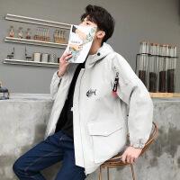 夹克男新款春秋冬男士外套男加绒厚韩版修身个性帅气潮流风衣