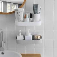 卫生间无痕贴墙壁置物架浴室洗手台置物盒塑料免打孔洗漱架 白色 三角形