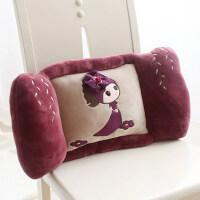 可爱办公室汽车靠垫卡通靠背大号椅子孕妇护腰靠枕床上靠背垫抱枕 紫红 蓓蕾菲儿靠垫57*30*13cm