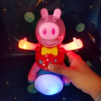 新款电动公仔灯光音乐跳舞小猪独轮车到处跑会旋转跳舞小猪女孩男粉红小猪 独轮会旋转跳舞小猪 收藏送电池+卡通贴纸