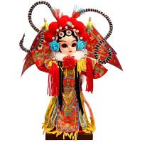 新品9英寸绢人Q版穆桂英(红) 京剧人偶娃娃 中国工艺品