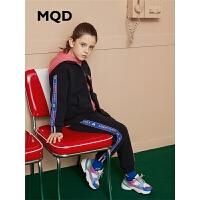 MQD童装女童加绒套装2019冬季新款儿童立领加厚保暖运动条纹2件套