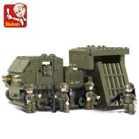 小鲁班拼装战争玩具6-12拼插积木导弹战车小颗粒男孩十岁生日礼物 卫士火箭炮【314片4人仔】+拆件器