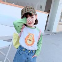 【59元2件】纽豆女童T恤2020春装新款韩版儿童套头打底衫洋气小宝宝长袖纯棉上衣