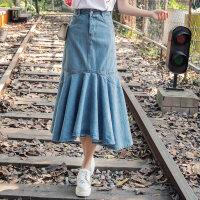2018春夏季新款 时尚女装洗水牛仔鱼尾半身裙中长款包臀裙子 洗水蓝