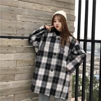 秋冬女装韩版复古BF风宽松中长款千鸟格呢子大衣学生加厚毛呢外套 均码