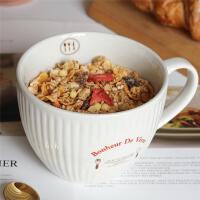 �W式早餐杯大容量燕��片杯大��R克杯陶瓷杯子牛奶杯泡面杯���w勺