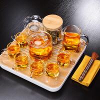 唐丰玻璃茶具套装家用密胺茶盘小套组透明过滤冲茶壶蓄水式干泡盘