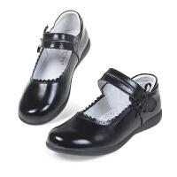 女童黑色皮鞋儿童表演出鞋白色学生单鞋礼仪鞋软底