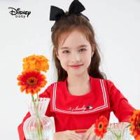 超品日【5.8号抢购价:46.5】迪士尼童装女童长袖T恤2021春装新款洋气儿童宝宝学院风打底衫