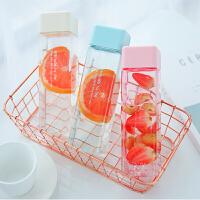 方形塑料水杯女学生韩版可爱创意个性男便携简约网红杯子ins