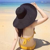黑色大沿草帽沙滩帽子女士夏天海边遮阳帽防晒度假帽可折叠大檐帽