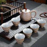 【新品】2019功夫茶具套装现代简约创意装礼品定制logo陶瓷粗陶一壶六杯
