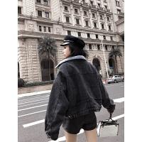 牛仔加绒外套女秋冬2018新款羊羔毛绒短外套加厚夹克潮 黑色
