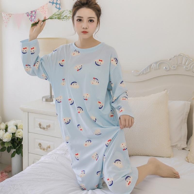 春秋季韩版连体睡衣女士长袖睡裙裤两穿裙宽松可爱学生家居服