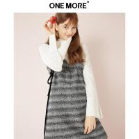 ONE MORE冬新两件套连衣裙女高腰a字裙毛衣套装裙