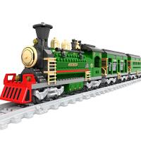 儿童奥斯尼拼装旧式轨道火车启蒙式拼插组装小颗粒积木6-8-12岁玩具男孩