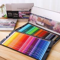 得力彩铅学生儿童套装24色 36色油性彩色铅笔绘画 48色水溶性美术用文具成人初学者 素描笔手绘专业铅笔彩铅可画秘密花园