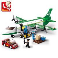拼装积木空中巴士货运飞机男孩玩具拼插塑料模型积木抖音
