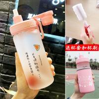 【好货】吸管水杯女玻璃杯学生创意可爱便携刻度韩版个性潮流夏天网红杯子 +杯套+杯刷