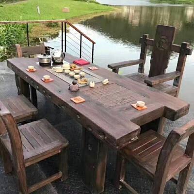 【热卖新品】老船木茶桌椅组合中式实木家具复古无漆茶艺桌户外休闲茶几  整装 春季大促领劵更优惠