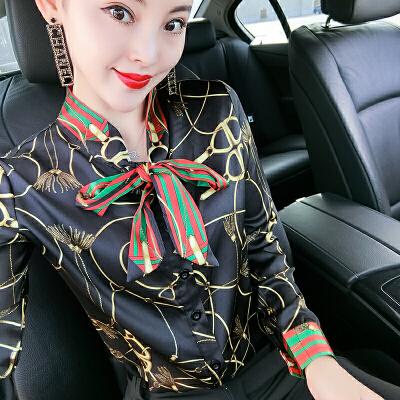 衬衫女长袖2018秋冬新款气质百搭打底衫围巾领时尚印花衬衣 图片上