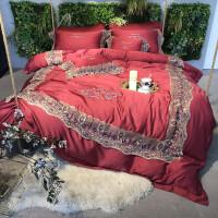 欧式80天丝四件套进口莱赛尔蕾丝丝滑高端婚庆新中式床上用品定制