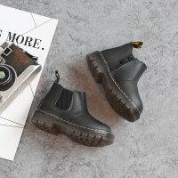 亲子装冬季加绒保暖儿童马丁靴1--3岁男童短靴软底女童宝宝学步棉靴子 22码内长14cm