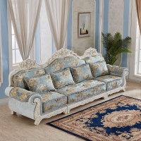 欧式布艺沙发组合客厅小户型实木雕花简欧转角贵妃整装可拆洗 组合