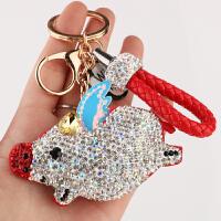 【品牌特惠】汽车钥匙扣钥匙挂件锁匙环可爱小飞猪镶钻个性创意钥匙链女款 小飞猪 红色