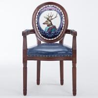 【热卖新品】欧式餐椅美式实木复古靠背椅子咖啡厅布艺北欧新中式创意洽谈桌椅 有扶手宝蓝色鹿 雕花